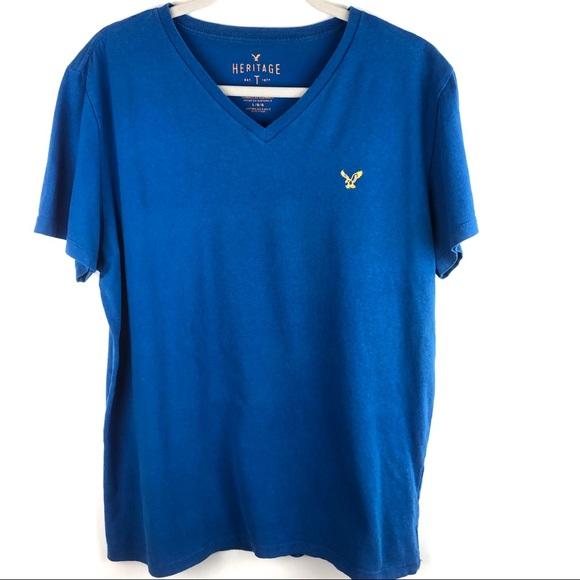 American Eagle 100% Cotton Blue V-Neck Tee Shirt